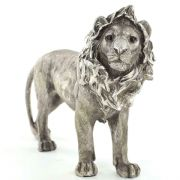 Antique Effect Silver Lion Sculpture Statue Home Decoration Ornament